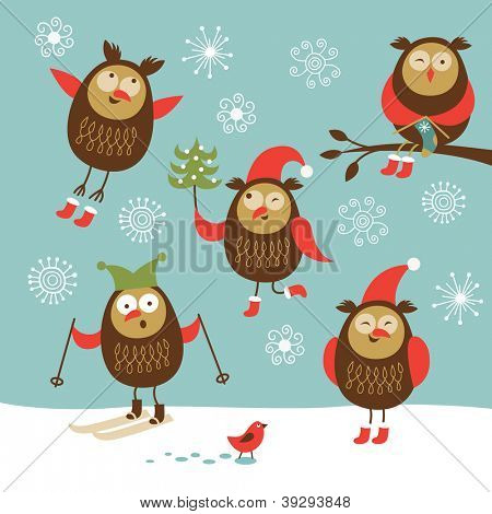 Set of vector cute owls in winter