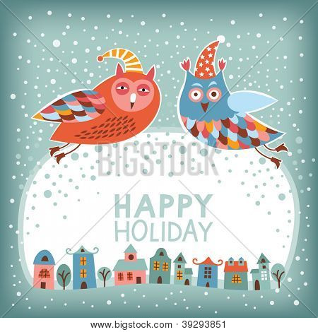 Christmas and New Year's card. Owl is flying over town. Season's greetings