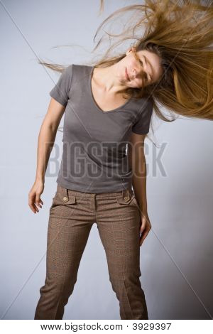 Dancing Woman With Moving Hair