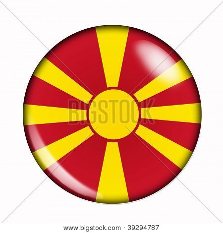 Button Flag Of Macedonia