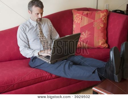 Business Man Working In Hotel Room