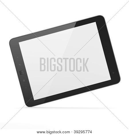 Pc de la tableta negro sobre fondo blanco