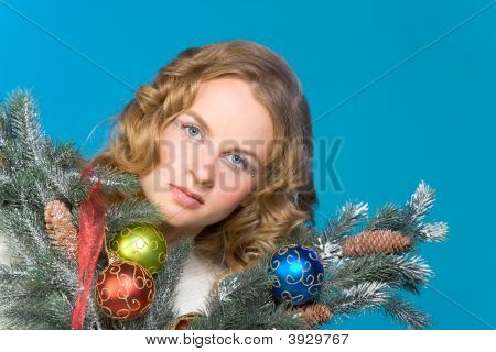 Decorated Christmas Portrait Of Blond Woman