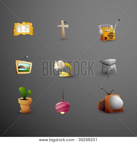 Objects around Grandma's Place | Cute Icons | Vector Set 1