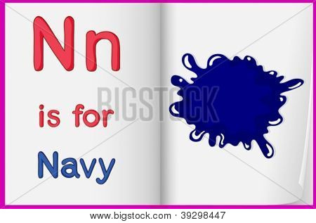 Illustration of the letter N in a book