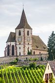 Hunawihr (alsace) - Church And Vineyard