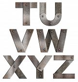 image of letter t  - Old grunge metal alphabet letters isolated on white - JPG