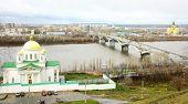 Постер, плакат: Благовещенский монастырь и собора Александра Невского в Нижнем Новгороде