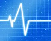 image of blue-screen-of-death  - Heart monitor on a soft blue background - JPG