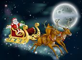 image of sleigh ride  - A Christmas illustration of Santa delivering gifts on Christmas Eve night with the moon in the background - JPG