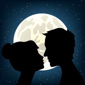 image of moonlit  - Man and woman kissing a moonlit night - JPG