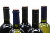 picture of wine bottle  - 5 wine bottles over white - JPG