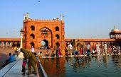 Pool And Courtyard Of Jama Masjid In Delhi