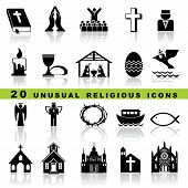 stock photo of pigeon  - set vector icons of christian religion sign and symbol - JPG