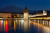 Night View On Chapel Bridge In Luzern
