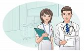 stock photo of clip-art staff  - Smiling Confident Doctor and Nurse with a background of doctor - JPG