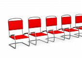stock photo of anteroom  - Red chairs in the anteroom on the white background - JPG