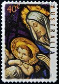 AUSTRALIA - CIRCA 1995: A Stamp printed in Australia shows the Madonna and Child Christmas circa 199