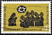 AUSTRALIA - CIRCA 1966: A stamp printed in Australia shows Christmas Emmanuel God with us circa 1966