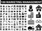 100 marketing management signs, icons set, vector