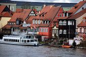 stock photo of regnitz  - Old fisher houses and boats in district called  - JPG