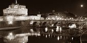 The Citadel Towered Above The River Tiber In The Night, Sepia - Rome Italy