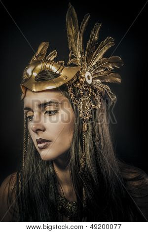 sensual woman with golden tiara, ancient goddess