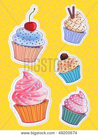 vector cute cupcake stickers