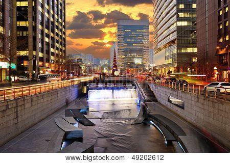 Cityscape of Seoul, South Korea at Cheonggyecheon Stream.