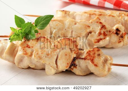 grilled chicken skewers decorated with herb