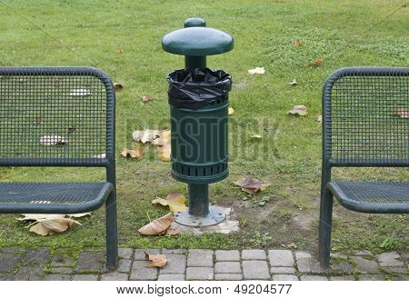 garbage bin and  benches