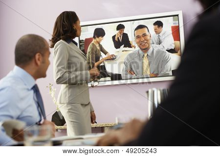 Businesspeople having video conference