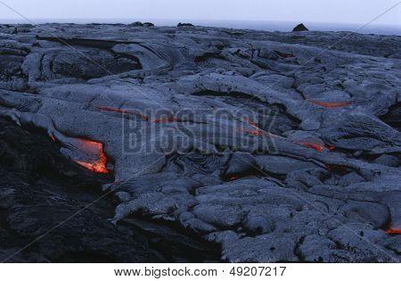 USA Hawaii Big Island Volcanos National Park cooling lava