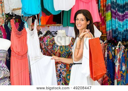 Woman Shopping In Street Summer Market