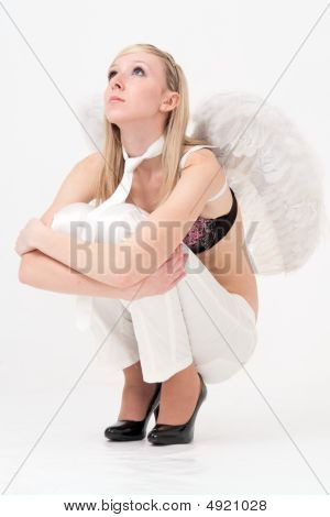 Woman With White Angel Wings