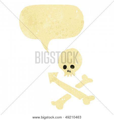 retro cartoon skull and crossbones with speech bubble