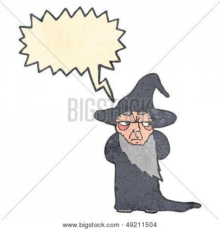 retro cartoon wizard with speech bubble