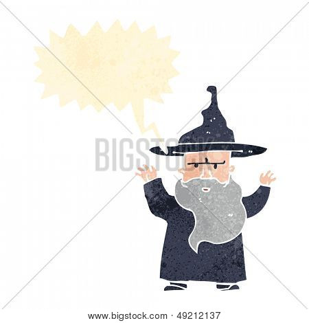 retro cartoon wizard with thought bubble