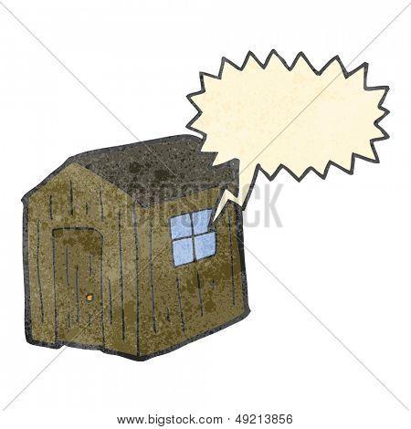 retro cartoon wood shed