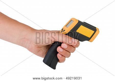 Hand hold a non-contact IR industrial thermometer