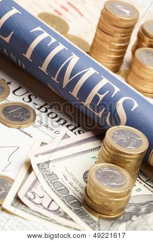 Financial newspaper with paper