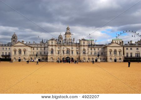 Horse Guards Parade - A Large Parade Ground Off Whitehall In Central London And London Eye On A Typi