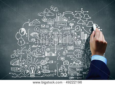 Close up of human hand drawing business plan with chalk