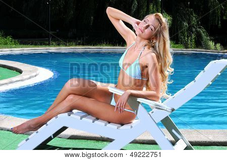 Woman In Poolside