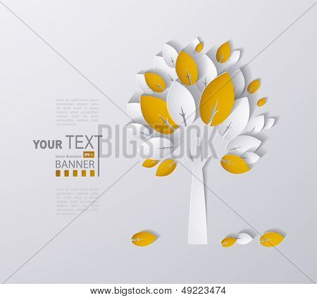 paper autumn tree abstract background