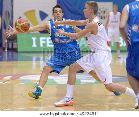 KIEV, UKRAINE - AUGUST 8: Simon Buysse, Belgium and V. Mouratos, Greece in action during U16 Eurobasket 2013 First round match Greece vs Belgium at Palace of Sport in Kiev, Ukraine on August 8, 2013
