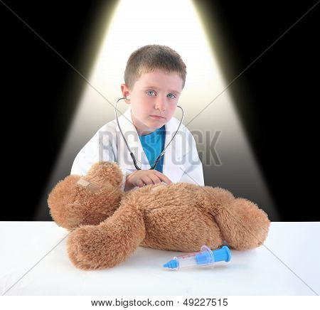 Child Doctor And Teddy Bear Checkup