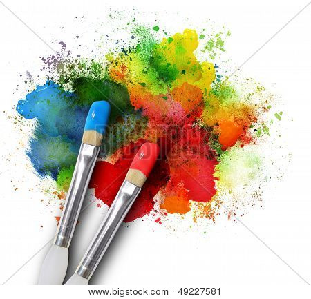Paintbrushes With Paint Splatters On White