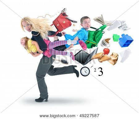 Stress Mother Running Late With Kids