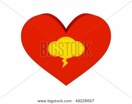 Big red heart with thunder cloud symbol. Concept 3D illustration.